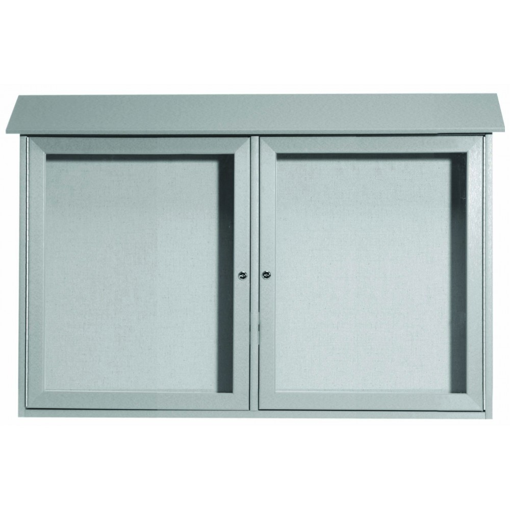 Light Grey Two Door Hinged Door Plastic Lumber Message Center with Vinyl Posting Surface-30