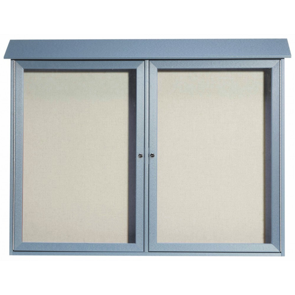Light Grey Two Door Hinged Door Plastic Lumber Message Center with Vinyl Posting Surface-40