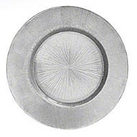 "Jay Import 1900014 Light Silver Antique Glass 13"" Charger Plate"