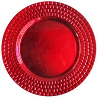 "Jay Import 1182771 Linear Red Melamine 13"" Charger Plate"