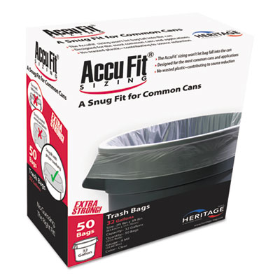 Linear Low Density Can Liners with AccuFit Sizing, 32 gal, 0.9 mil, 33