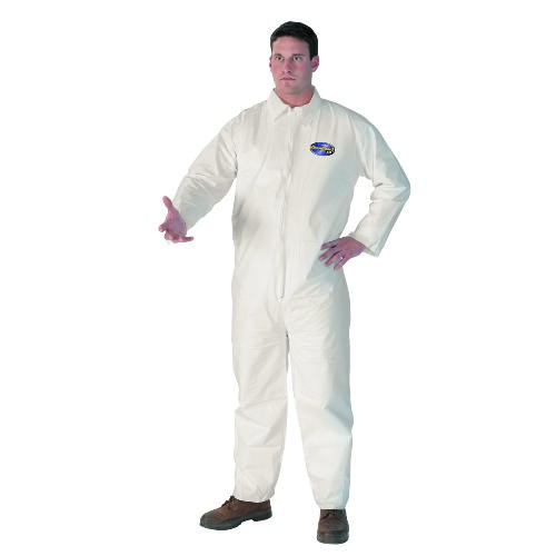 Liquid & Particle Protection Apparel, Large, Front Zip, Elastic Wrists and Ankles, Hood, White, 16 x 12 x 12.875