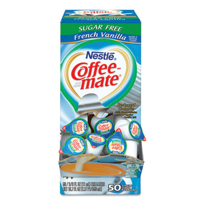 Liquid Coffee Creamer, Sugar-Free French Vanilla, 0.38 oz Mini Cups, 50/Box