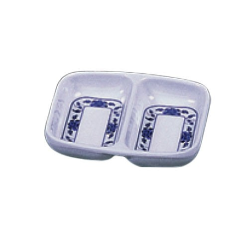 Lotus 2-Compartment Melamine Sauce Dish - 2-3/4