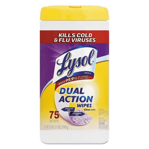 Lysol Dual Action Disinfecting Wipes, Citrus, 75/Canister, 6/Carton