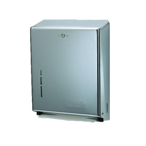 M-Fold Hand Towel Dispenser, 11-3/8 W, Lockable, Stainless Steel