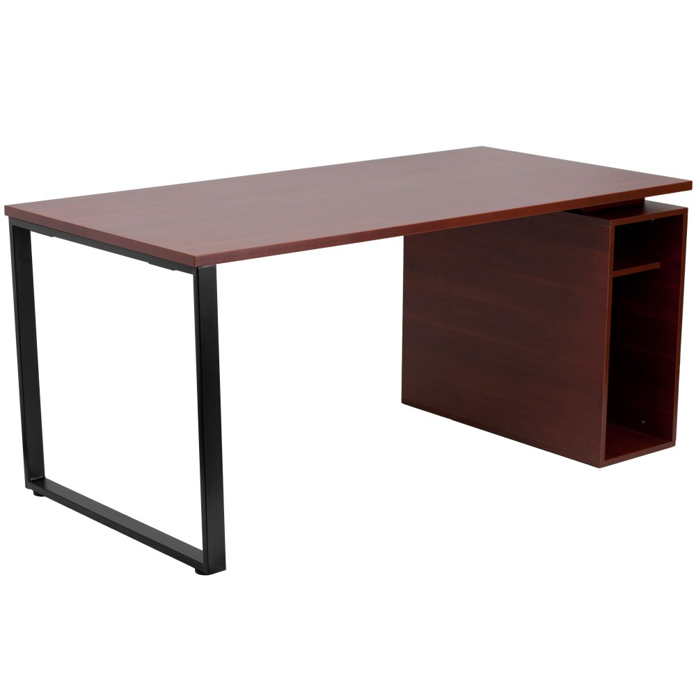 Flash Furniture NAN-JN-2108-GG Mahogany Computer Desk with Open Storage Pedestal