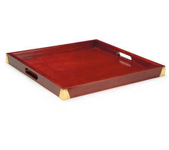 G.E.T. Enterprises LUX-2121-M Square Hardwood Tray with Brass Reinforcement, 21""