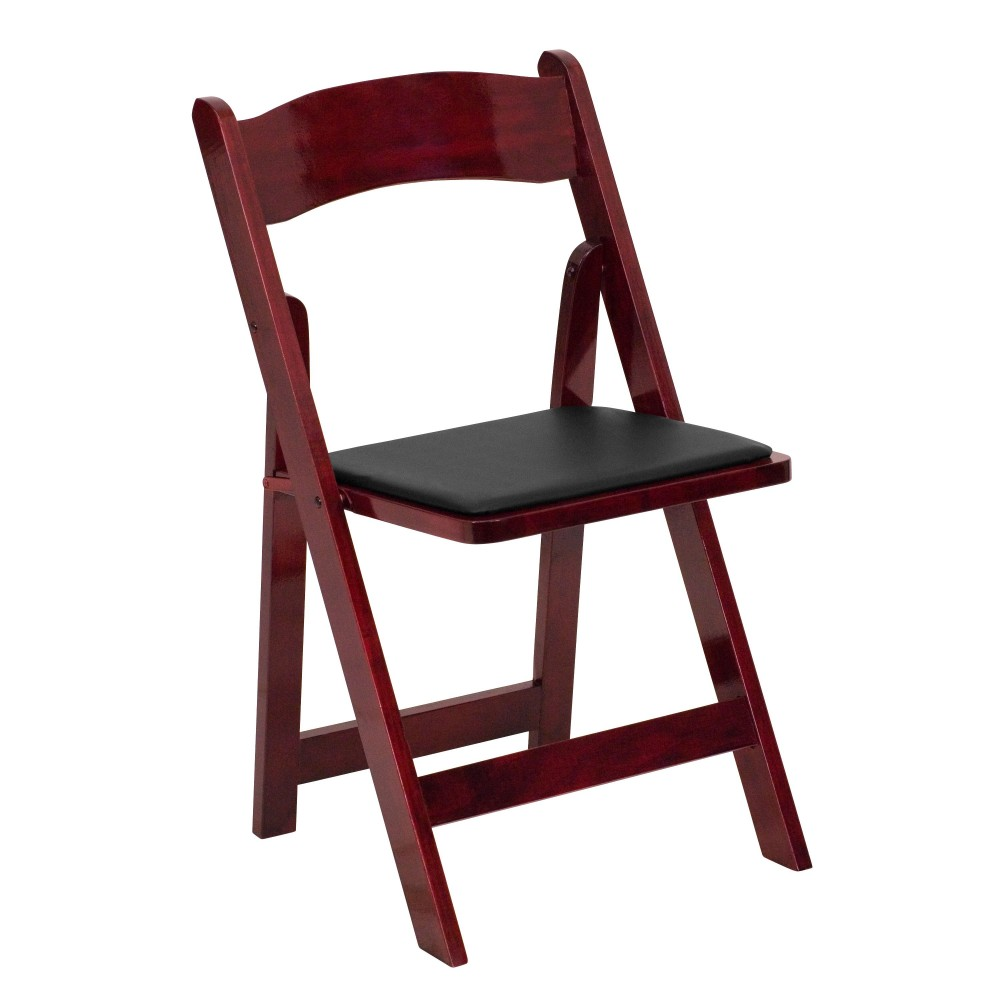 Mahogany Wood Folding Chair - Black Padded Seat