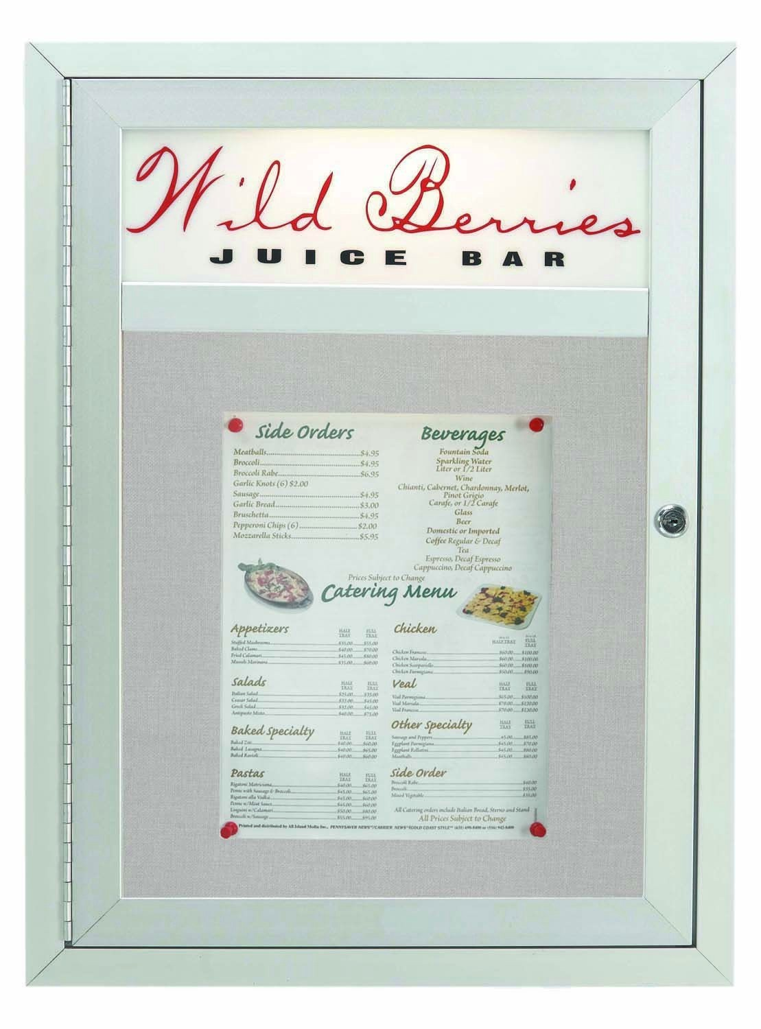 Main Street Style Indoor / Outdoor Satin Anodized Aluminum Enclosed Bulletin Board With Header- 24