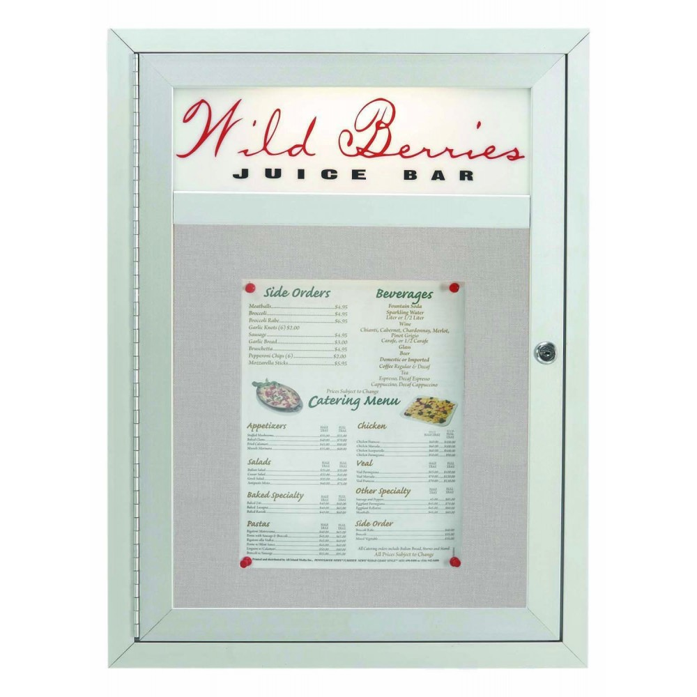 "Aarco Products MSC2418H 1 Door Main Street Style Aluminum Frame Enclosed Bulletin Board with Header, 24""H x 18""W"