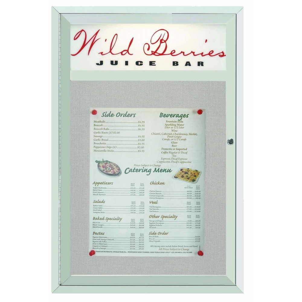 Main Street Style Indoor / Outdoor Satin Anodized Aluminum Enclosed Bulletin Board With Header- 36