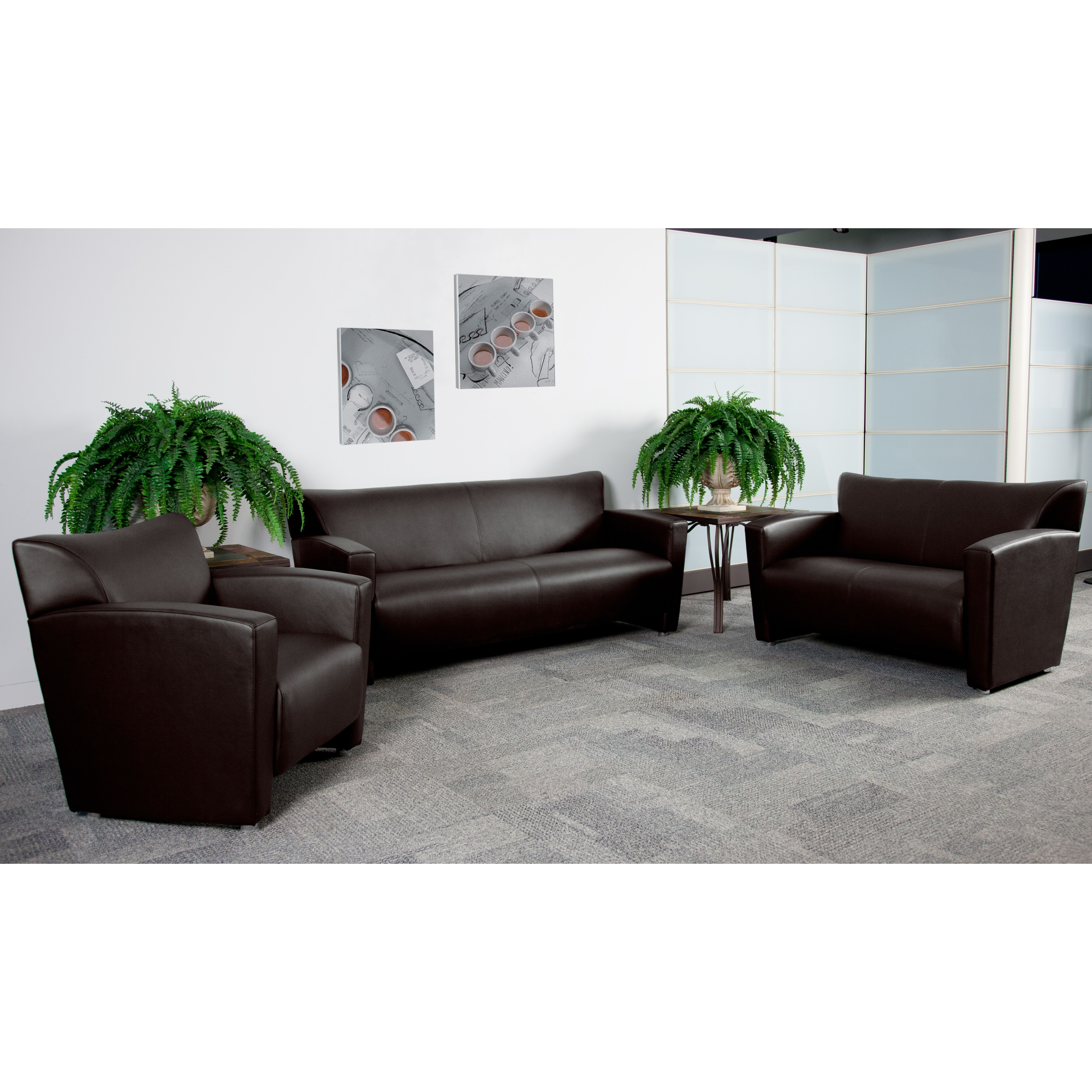 Flash Furniture 222-SET-BN-GG Majesty Series Reception Set in Brown