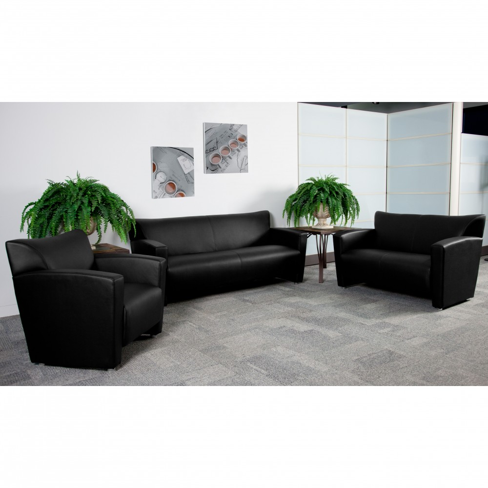 Flash Furniture 222-SET-BK-GG Majesty Series Reception Set in Black