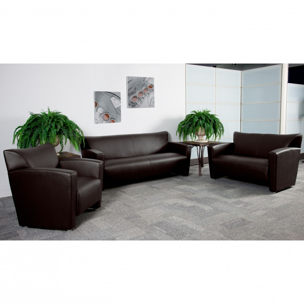 Flash Furniture 222-SET-BN-GG Majesty Series Reception Set in Brown