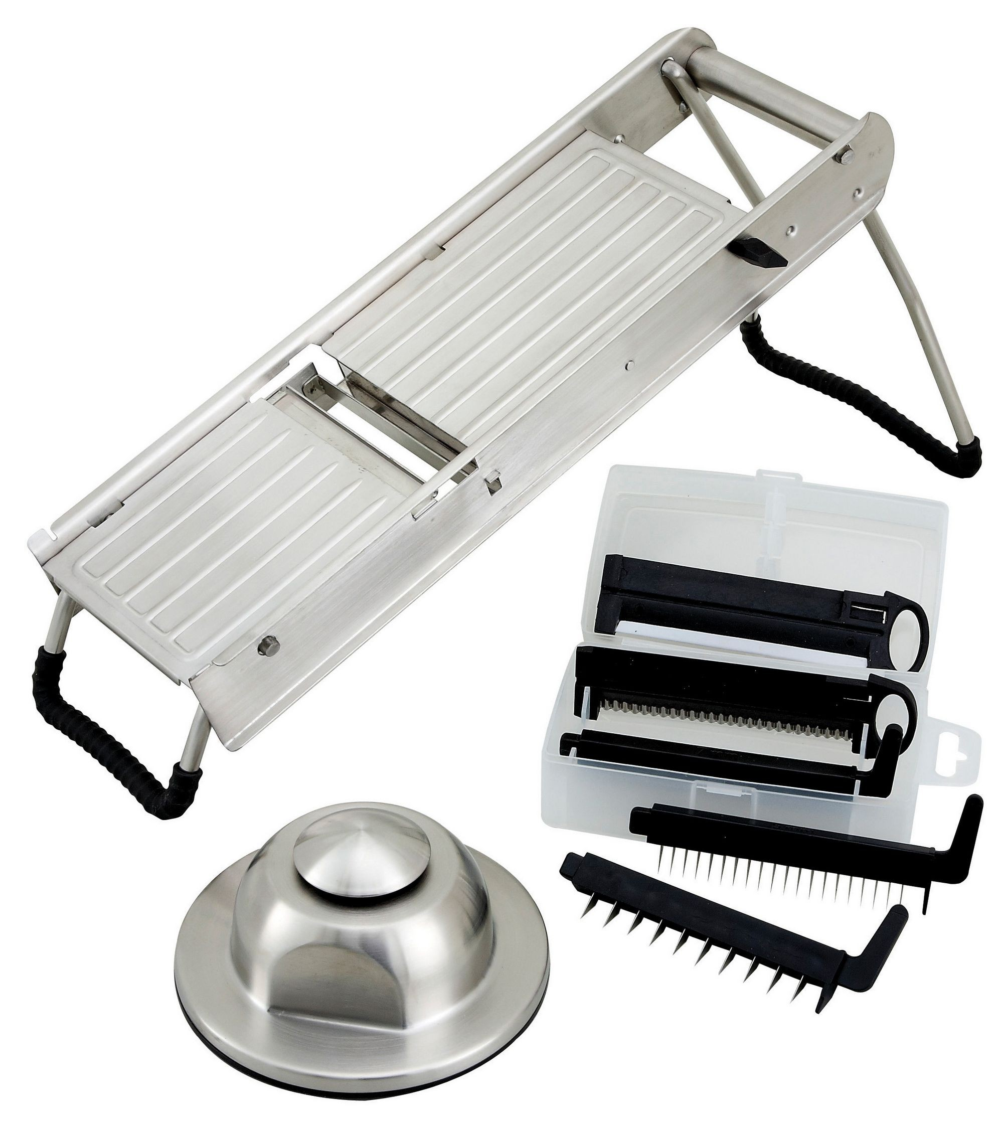 Winco MDL-15 Mandoline Slicer Set with Stainless Steel Hand Guard