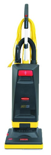 Manual-Height Micro Filter Upright Vacuum, 20 lbs, Black/Yellow