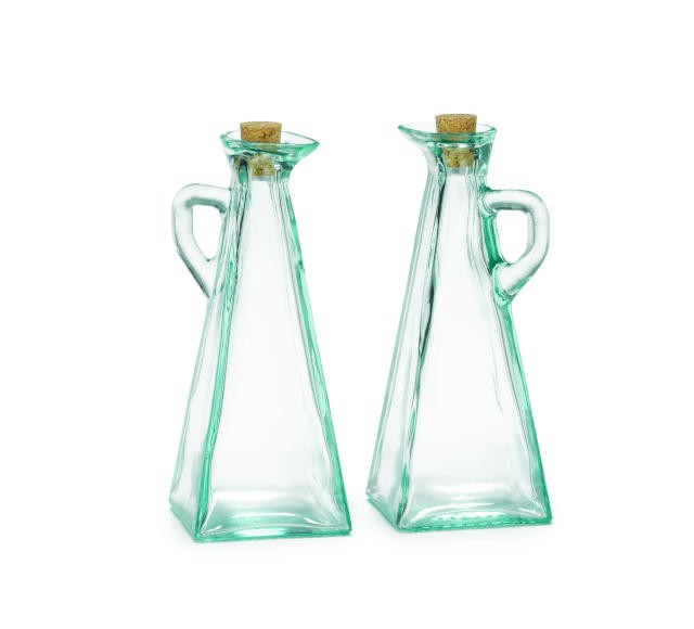 TableCraft 617 Marbella 12 oz. Oil & Vinegar Dispensers with Cork Stoppers