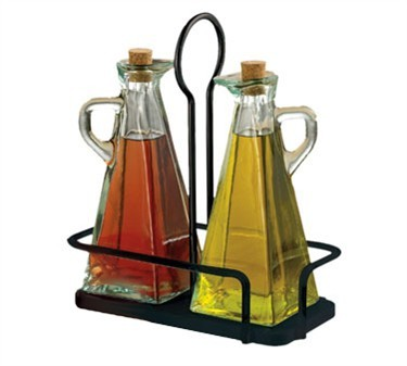 TableCraft 617NBK Marbella 3-Piece Oil & Vinegar Set with Black Metal Rack