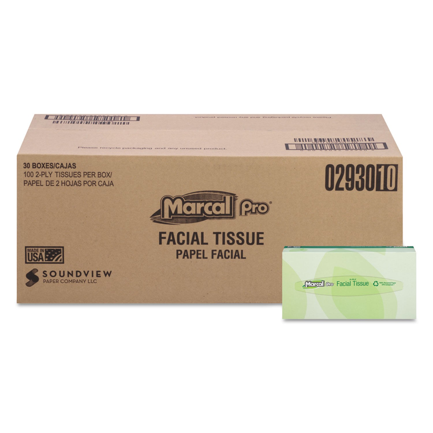 Marcal 100% Recycled Convenience Pack 2-Ply Facial Tissue, 30 Boxes/Carton