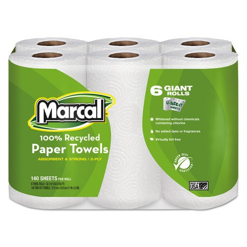 Marcal 100% Recycled Roll Towels, 2-Ply, 5 1/2 x 11, 24 Rolls/Carton