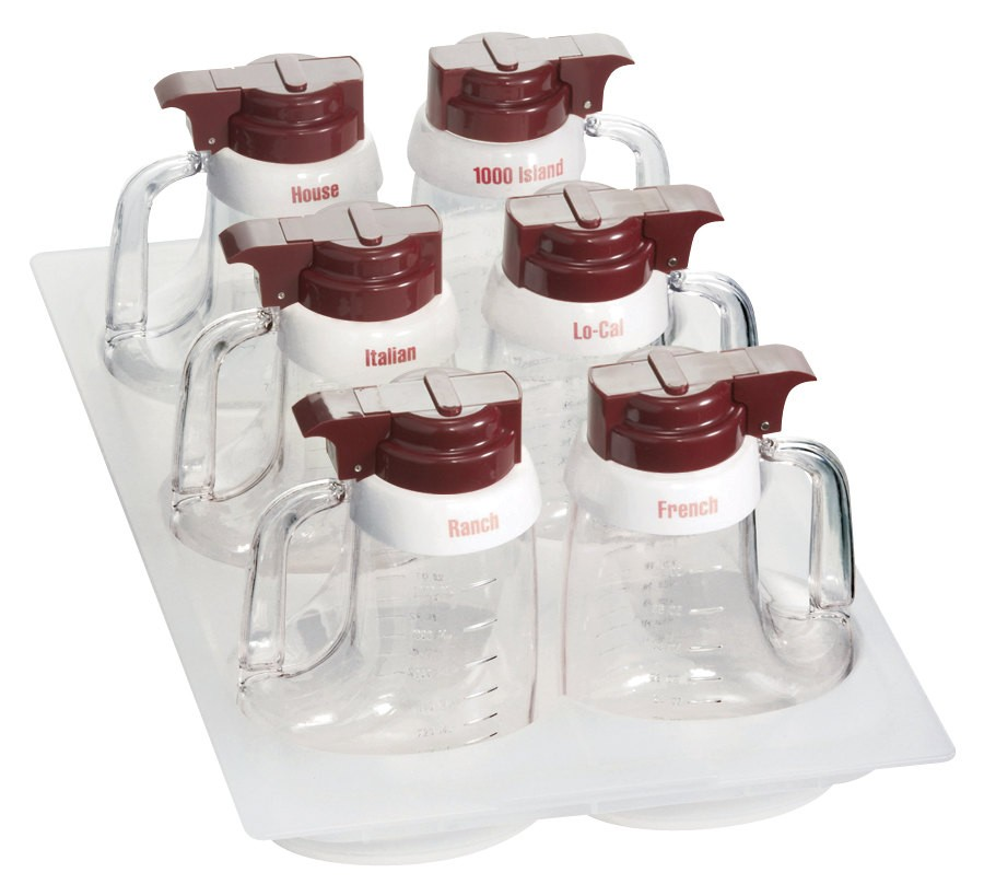 TableCraft 483 Maroon ABS Top Clear Salad Dressing Dispenser Set