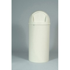 Marshal Classic Container, Round, Polyethylene, 25 gal, Off-White