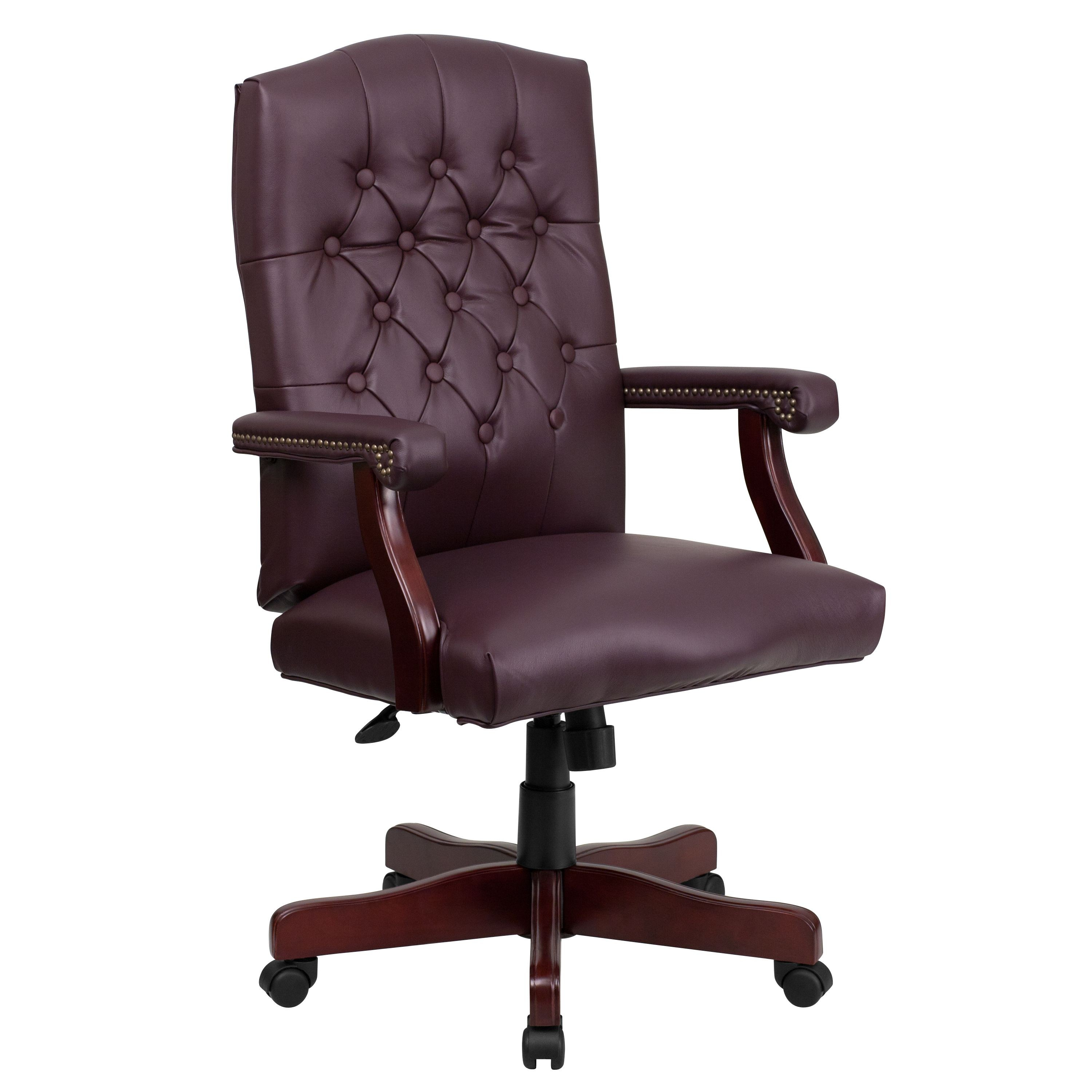 Flash Furniture 801L-LF0019-BY-LEA-GG Martha Washington Burgundy Leather Executive Swivel Chair