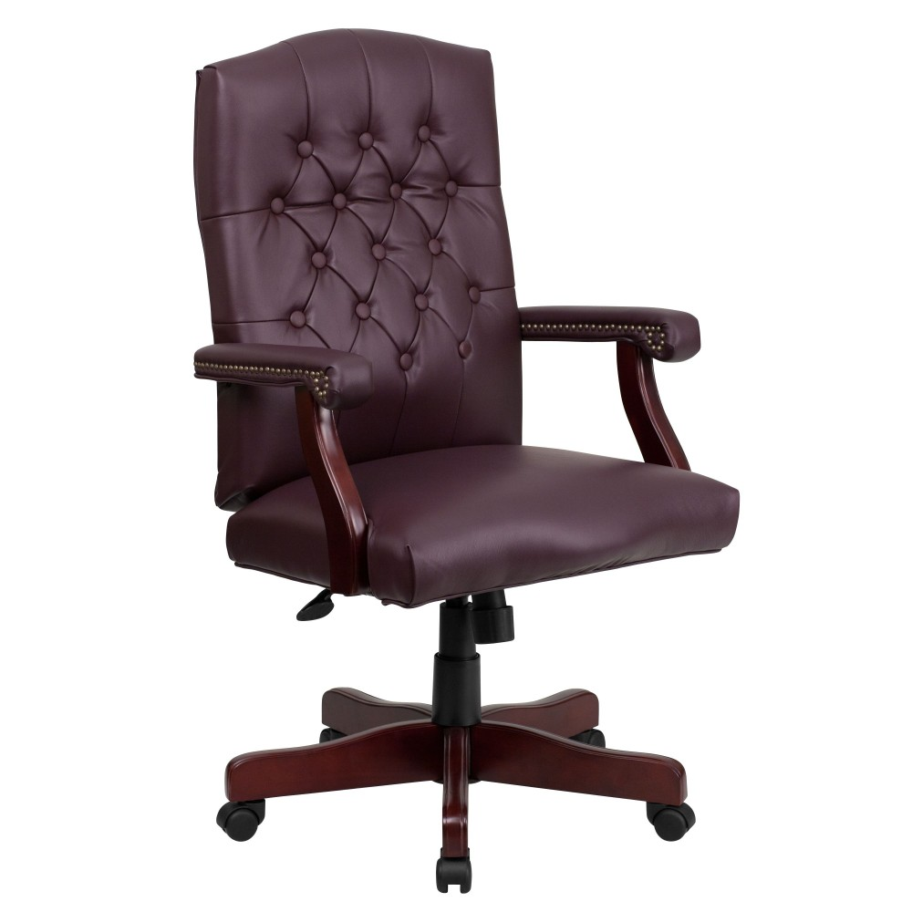 Martha Washington Burgundy Leather Executive Swivel Chair [801L-LF0019-BY-LEA-GG]