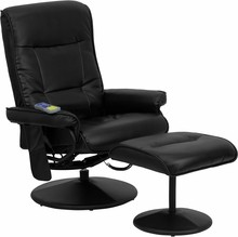 Massaging Black Leather Recliner and Ottoman with Leather Wrapped Base- 29.5''W x 28 - 40''D x 39''H