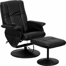 Massaging Black Leather Recliner and Ottoman with Leather Wrapped Base-30.75''W x 31 - 43''D x 41''H
