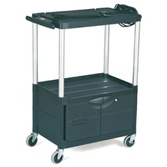 Media Master AV Cart, 2-Shelf with door, 18-3/4w x 32-3/4d x 42h, Black
