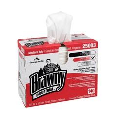 Medium-Duty HEF Shop Towels, 9 1/10 x 12 2/5, White, 140/Box