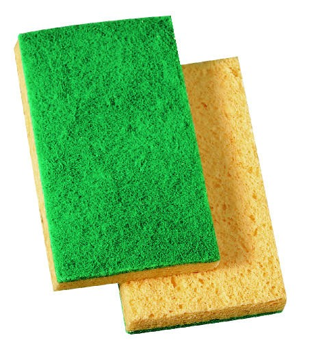 Medium-Duty Scrub Sponge, 3.6 X 6.1 X .7, Yellow & Green