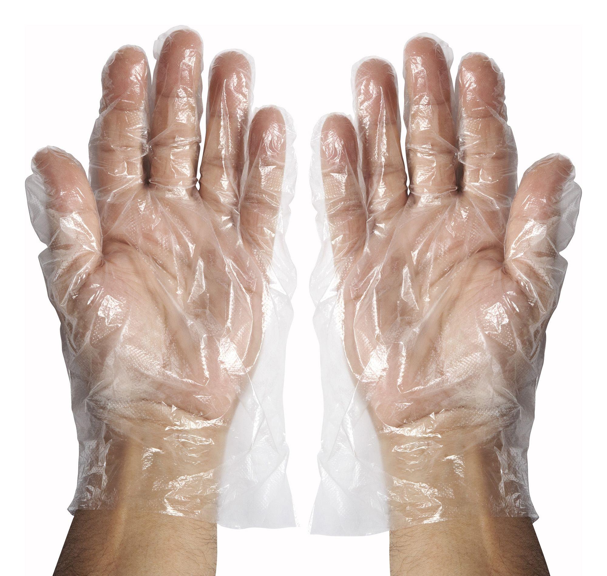 Winco GLP-M DisposableTextured Polyethylene Gloves, Medium