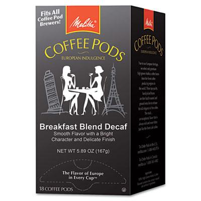 Melitta Coffee Pods, Breakfast Blend Decaf, 18 Pods/Box