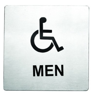 "Stainless Steel Handicap Men Accessible Sign, 5"" x 5"""