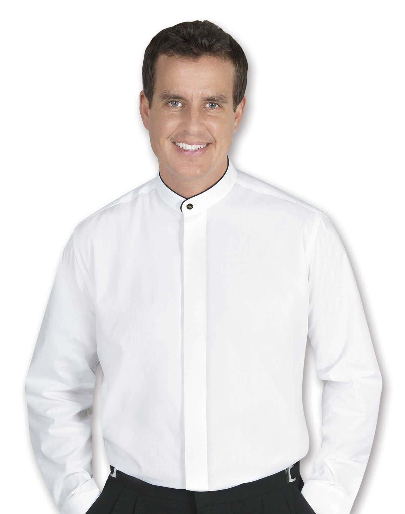 Men's Banded Collar White Dress Shirt With Black Piping