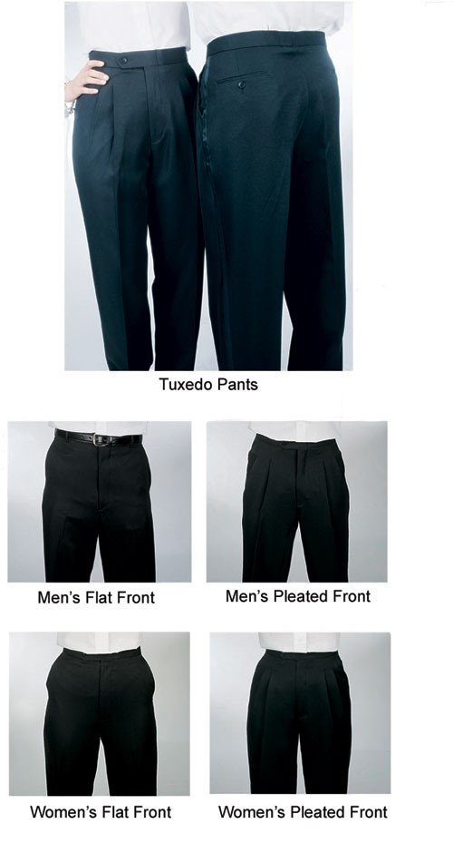 Men's Pleated Front Black Tuxedo Pants
