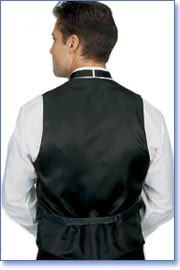 Men's Silk Belted Black Back Vest With Welt Pockets