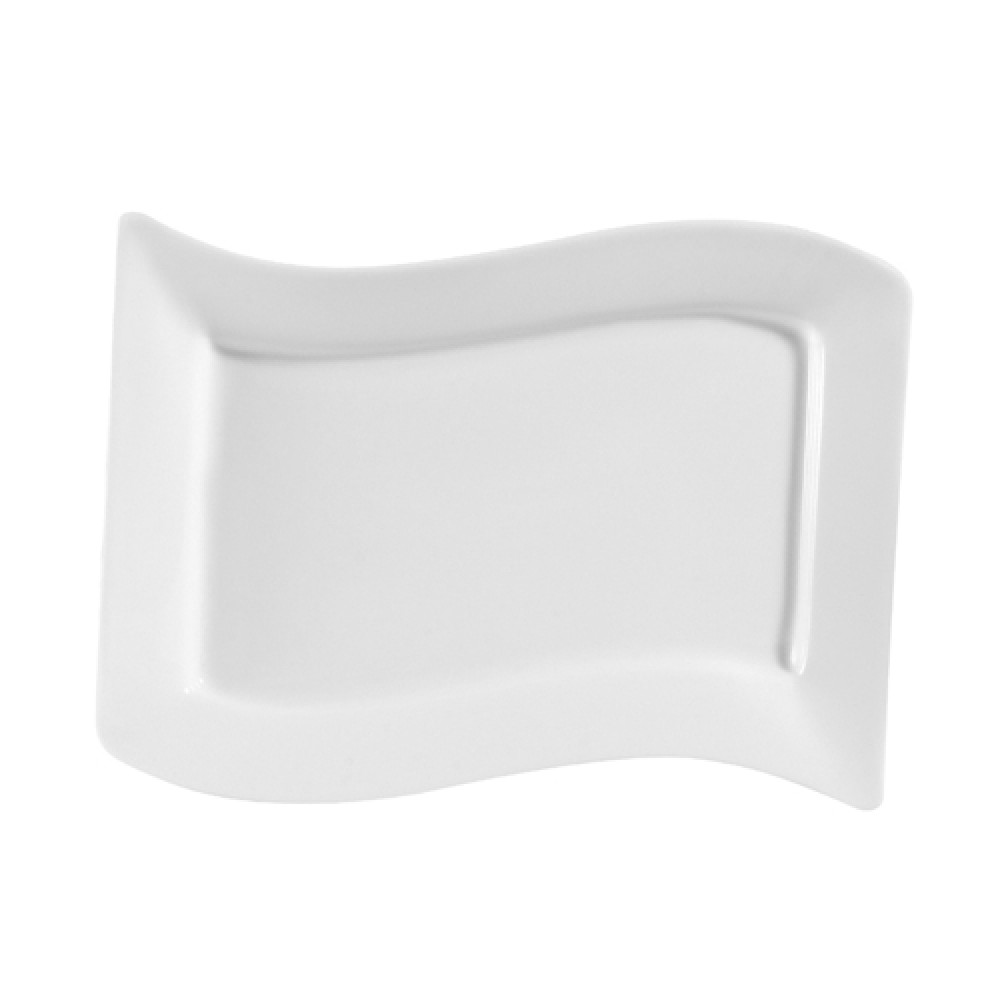"CAC China MIA-13 Miami Bone White Rectangular Platter, 12"" x 8"""