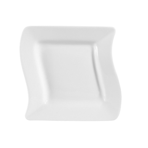 Miami Bone White Wave Square Plate - 6-3/4