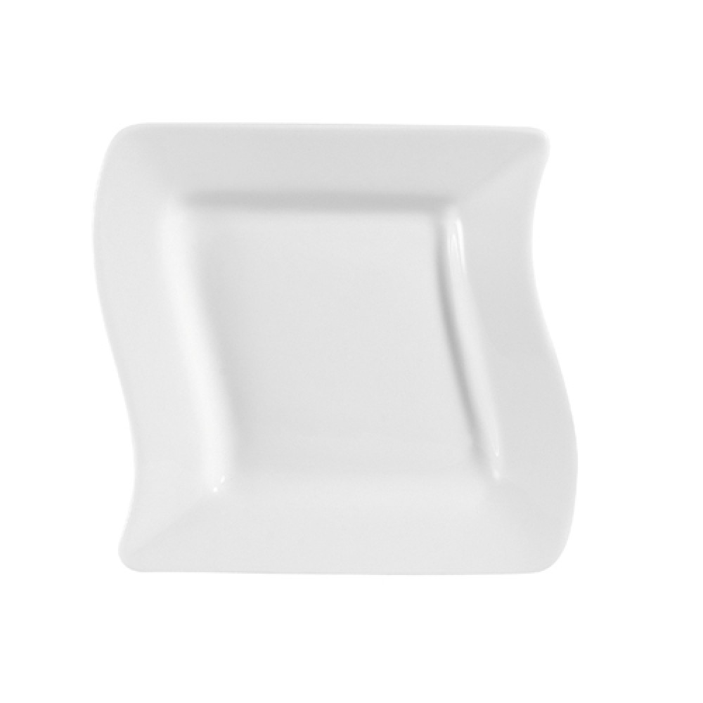 CAC China MIA-6 Miami Bone White Square Plate 6-3/4""