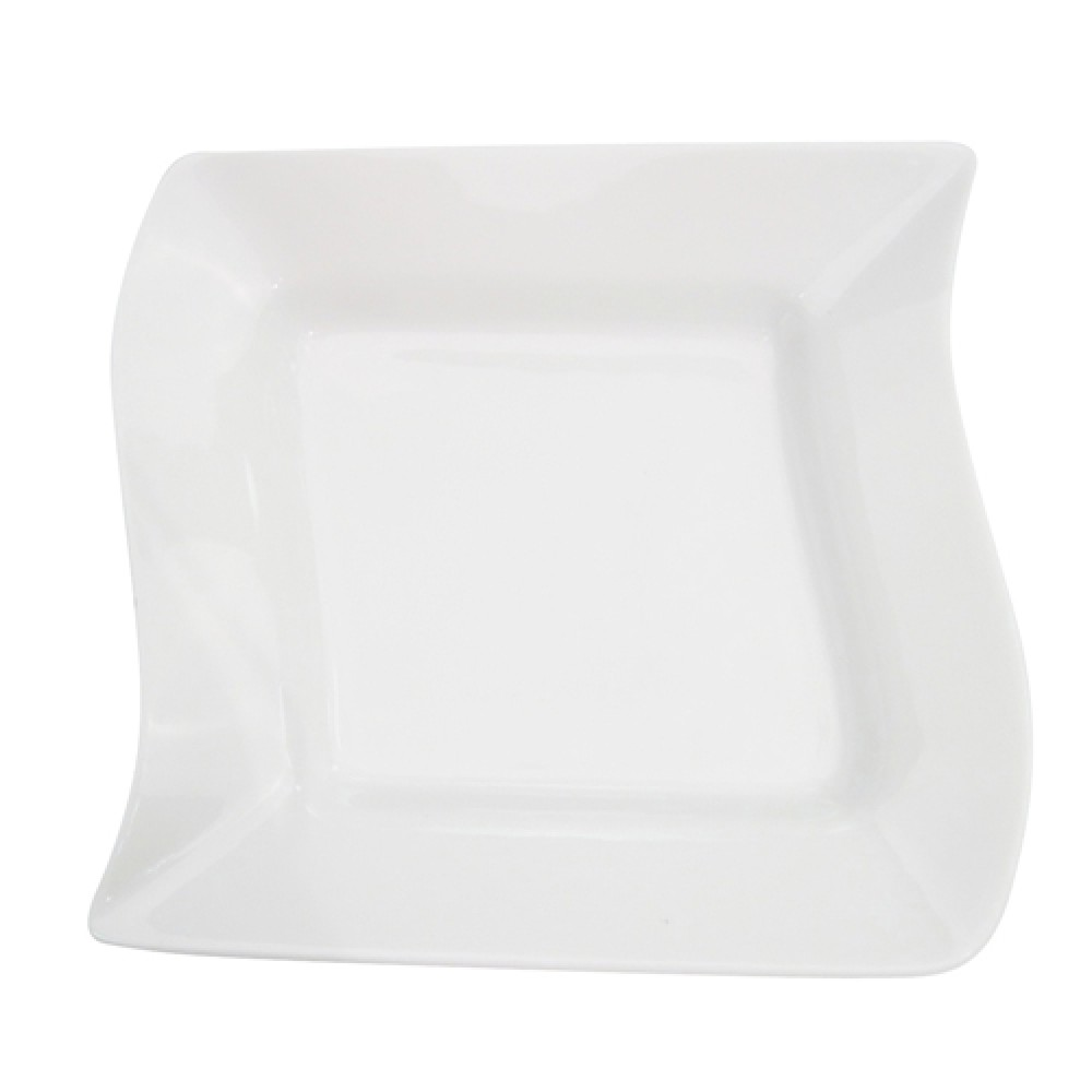 Miami Bone White Wave Square Soup Plate - 8-1/2