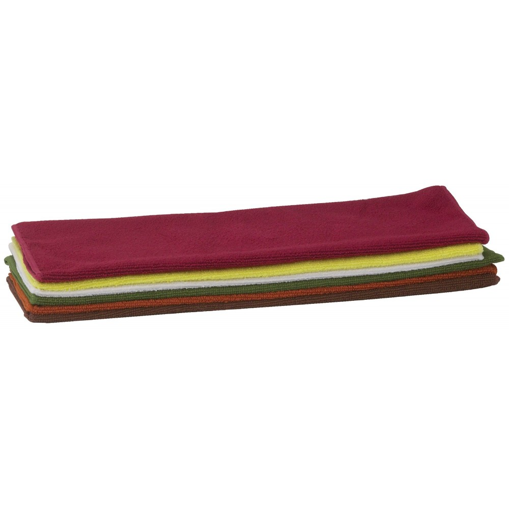 "Winco BTM-16AC Microfiber Bar Towel Set, Assorted Colors 16"" x 16"""