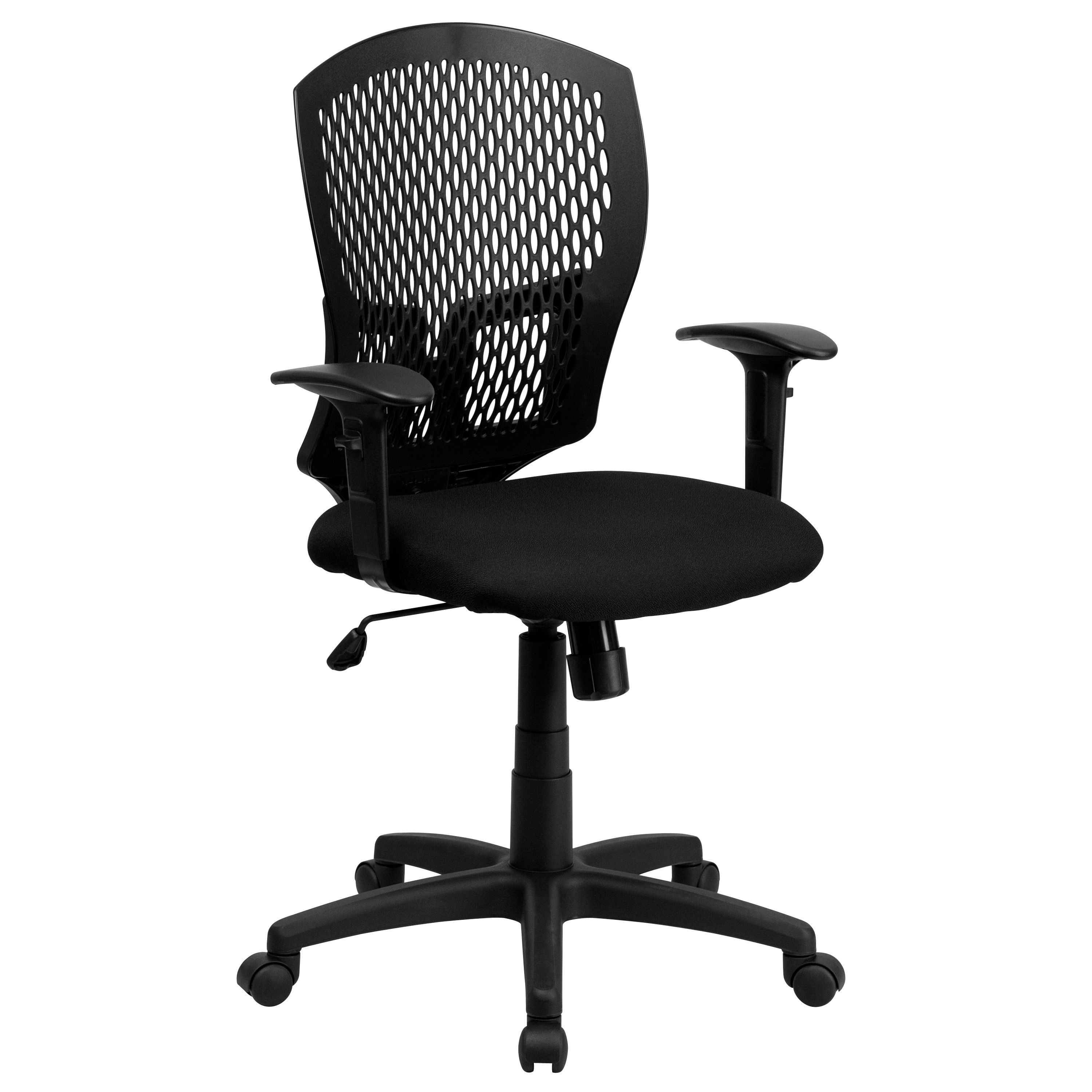 Flash Furniture WL-3958SYG-BK-A-GG Mid-Back Designer Back Task Chair with Padded Fabric Seat and Arms