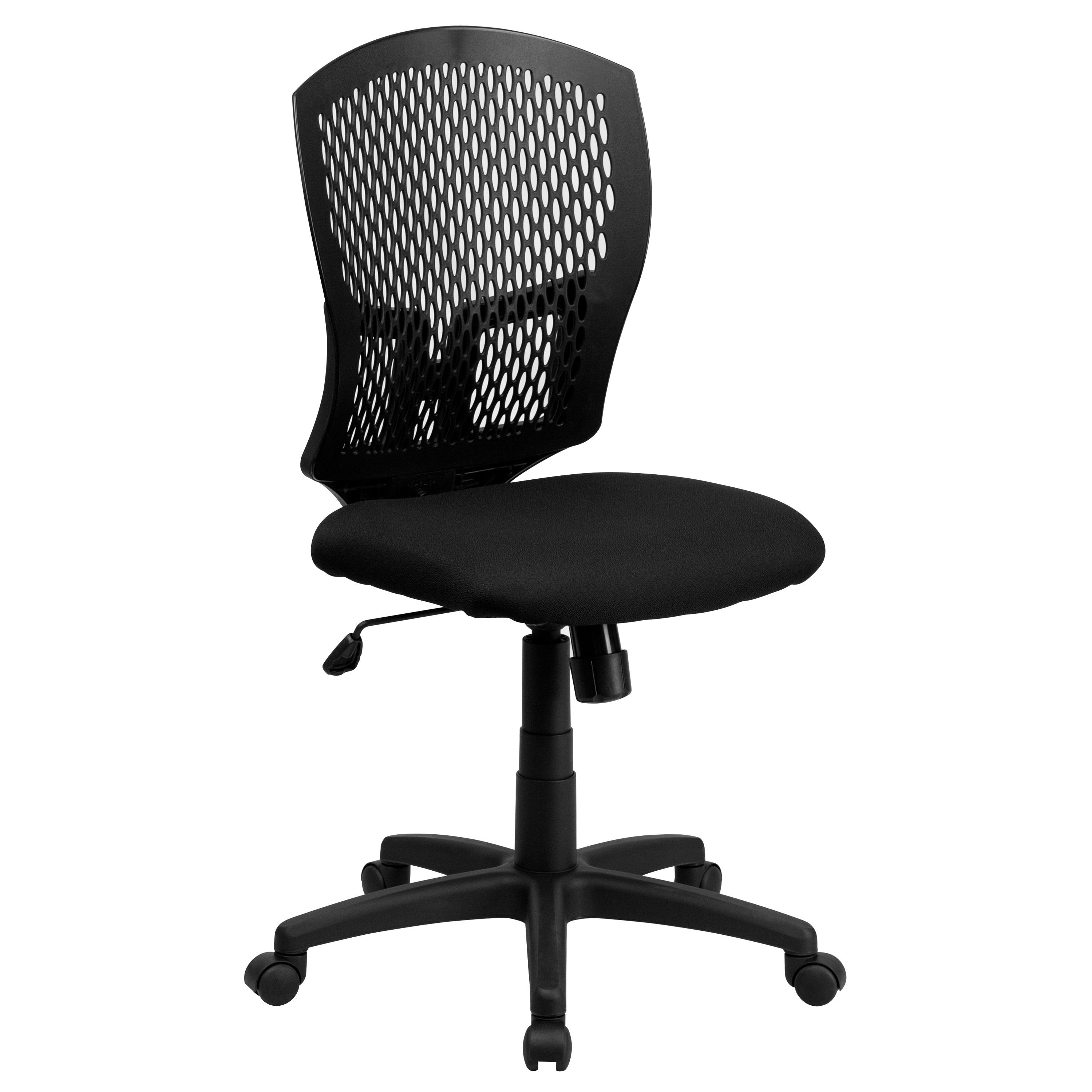 Flash Furniture WL-3958SYG-BK-GG Mid-Back Designer Back Task Chair with Padded Fabric Seat