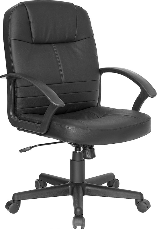 Mid Back Executive Black Leather Swivel with Nylon Base
