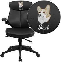 Mid-Back Leather Office Chair with Back Angle Adjustment and Flip-Up Arms