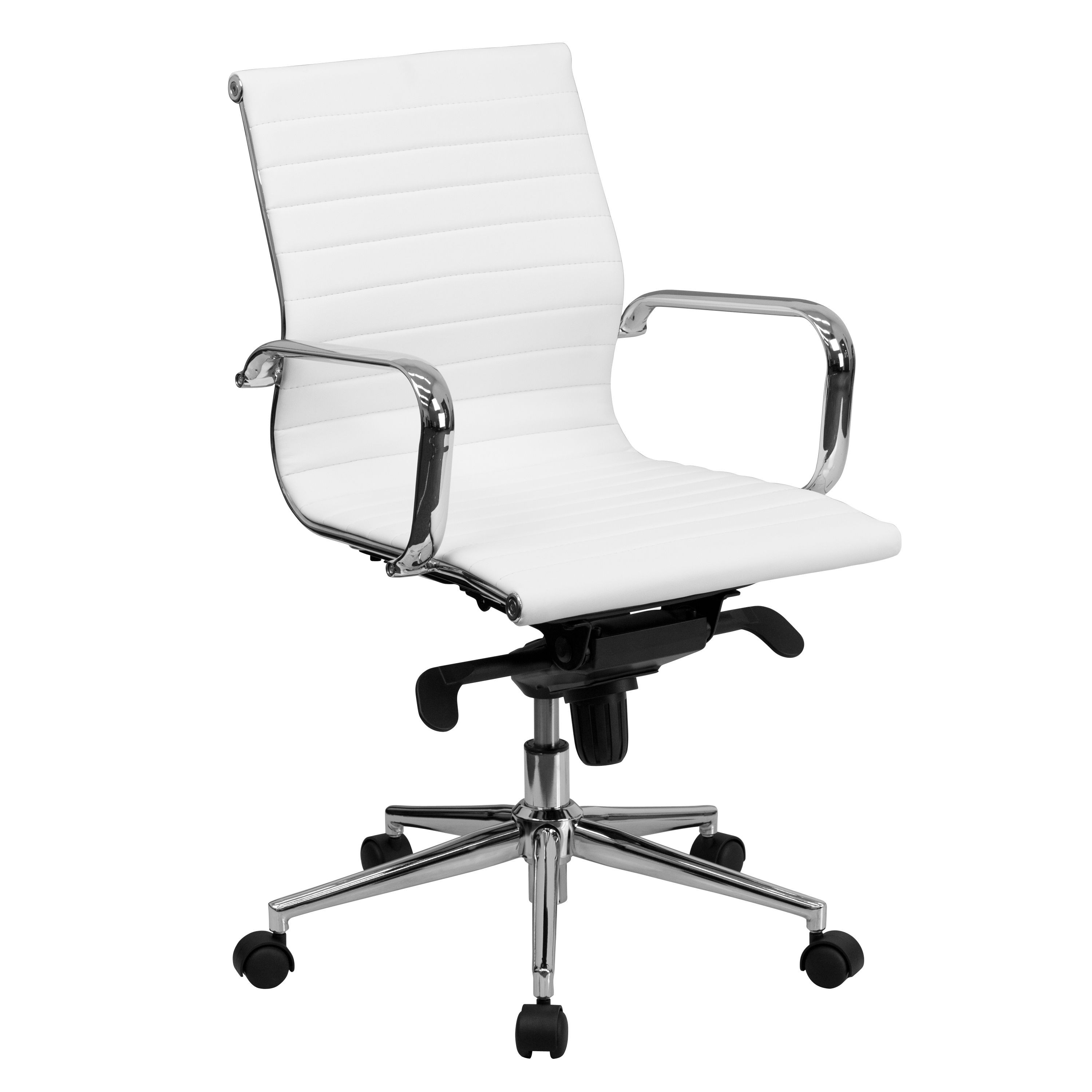 Flash Furniture BT-9826M-WH-GG Mid-Back White Ribbed Upholstered Leather Conference Chair